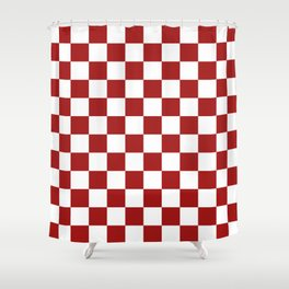 Cranberry Red and White Checkerboard Pattern Shower Curtain