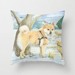 Norwegian Buhund Working Throw Pillow