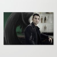 chris evans Canvas Prints featuring Angel Evans by Andi Robinson