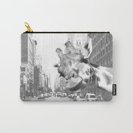 Black and White Selfie Giraffe in NYC Carry-All Pouch