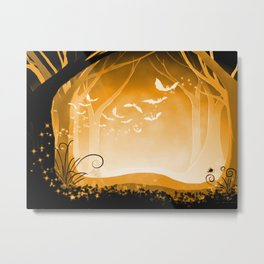 Dark Forest at Dawn in Amber Metal Print