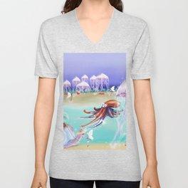 Sea Life Fairy Island,Childrens illustration Unisex V-Neck