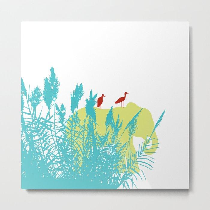 Pastel Symbiosis between Elephant and Bird Metal Print