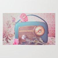 radio Area & Throw Rugs featuring Vintage Radio. by Julia Dávila-Lampe