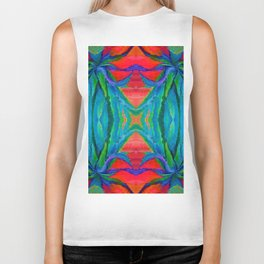 WESTERN MODERN ART OF BLUE AGAVES RED-TEAL Biker Tank