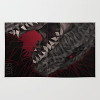 godzilla Area & Throw Rugs featuring Godzilla Scream by s2lart