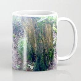"""Faeries and Trolls Welcome"". a split tree stump Coffee Mug"