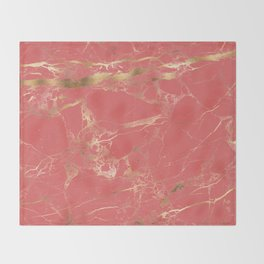 Marble, Coral + Gold Veins Throw Blanket