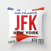 jfk Throw Pillows featuring JFK TAG  by Studio Tesouro