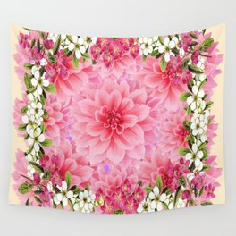 PINK DAHLIA FLOWER GARDEN  YELLOW FLORAL Wall Tapestry