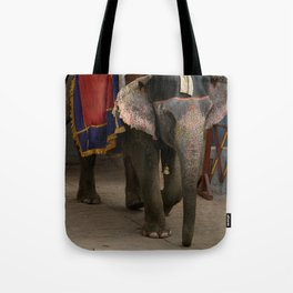 Elephants in Jaipur, India Tote Bag