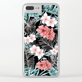 Black & Rose Gold Pink Island Paradise Clear iPhone Case
