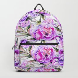 Modern lilac violet watercolor hand painted floral motif Backpack