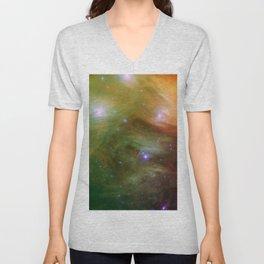 Galaxy : Pleiades Star Cluster neBuLa Green Orange Unisex V-Neck