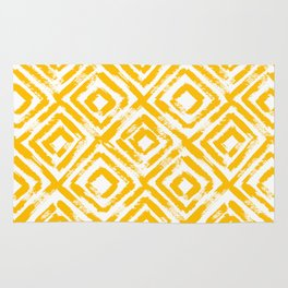 Amber Yellow Geometric Print Rug