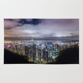 Beautiful Hong Kong city dark night view Rug