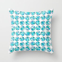 'An Ocean Dream' Abstract Illustration in blue, turquoise, aqua and silver Throw Pillow