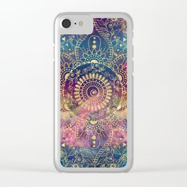 Gold watercolor and nebula mandala Clear iPhone Case