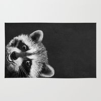 rocket raccoon Area & Throw Rugs featuring Raccoon  by Laura Graves