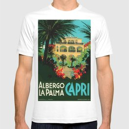 Vintage Capri, Italy Seaside Hotel Albergo La Palma Advertising Poster T-shirt