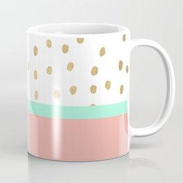 Coral teal color block faux gold foil polka dots pattern Coffee Mug