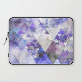Purple and silver glitter triangle pattern - Abstract Watercolor illustration Laptop Sleeve