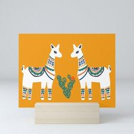 Yellow Llamas Love Yo Mamas Mini Art Print