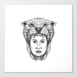 Amazon Warrior Jaguar Headdress Tattoo Canvas Print
