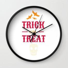 Halloween Bats and Skull Trick or Treat Wall Clock