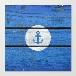 Nautical White Anchor on Vintage Blue Wood Panels Canvas Print