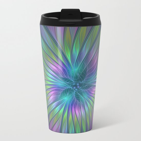 Colorful and luminous Fantasy Flower, Abstract Fractal Art Metal Travel Mug