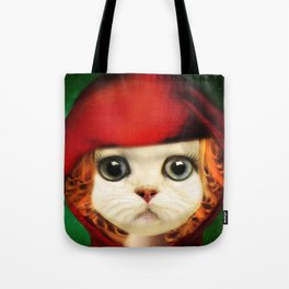 Kitten red riding  Tote Bag
