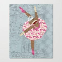 Sock Monkey Ballerina Canvas Print