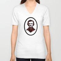 poe V-neck T-shirts featuring Poe by Brit Austin Illustration
