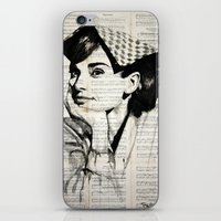 audrey iPhone & iPod Skins featuring Audrey by Krzyzanowski Art