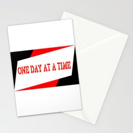 One Day at a Time (parallelogram red) Stationery Cards