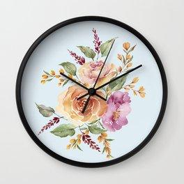 vintage ros bouquet Wall Clock