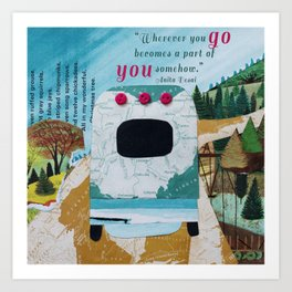 Wherever You Go: Silver Camper Art Print