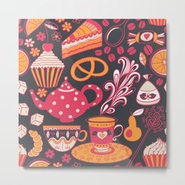 tea and candy pattern Metal Print