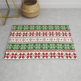 Green & Red Winter Fair Isle Rug