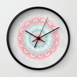Teal & Coral Glow Medallion Wall Clock