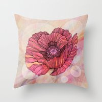 poppy Throw Pillows featuring Poppy by Annike