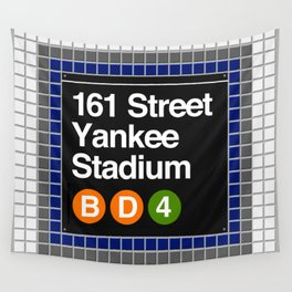 subway yankee stadium sign Wall Tapestry