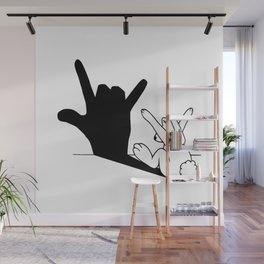 Rabbit Love Hand Shadow Wall Mural