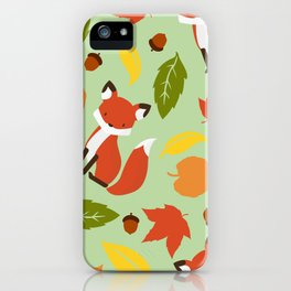 Fox Jumble - Sea Foam iPhone Case