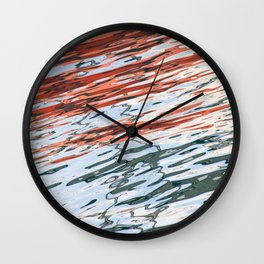 Water Reflection Red and Grey Wall Clock