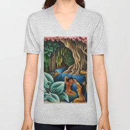 Bathing in the River by Miguel Covarrubias Unisex V-Neck