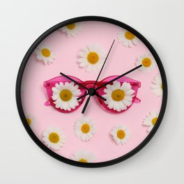 Pink sunglasses with daisies Wall Clock