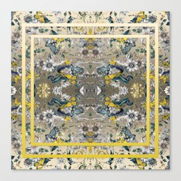 Passion Flower Baroque in Gold Yellow Grey Canvas Print