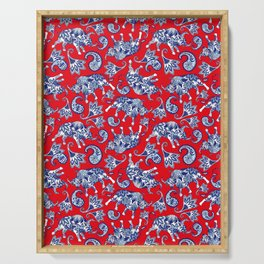 Ox Paisley (Blue and Red Palette) Serving Tray